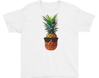 Cool Pineapple With Sunglasses Youth Short Sleeve T-Shirt / Kids Clothing / Kids Clothes / Pineapple Decor / Pineapple T Shirt / Kids Shirts