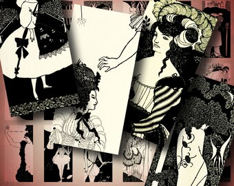 The Art of Aubrey Beardsley (1) Dominos 1x2 inch or Bamboo size - 60 images - 2 Digital Collage Sheets - Buy 3 Get 1 Extra Free