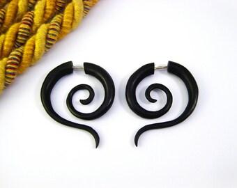 Fake Gauge Earrings Wood Tribal Spiral Earrings - FG014 DW