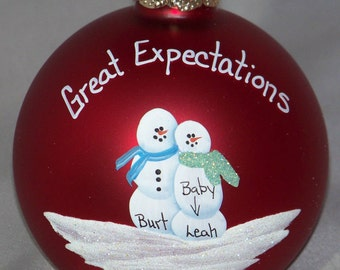 pregnant snow couple on 3.25 in glass ornament