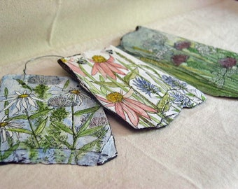 Painted Slate with Hand Painted Flowers on White Background Wildflower Illustration