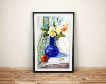 Still Life Painting Original Watercolor Flowers Bedroom Decor Blue Vase with Roses Large Wall Artwork Fine Art Floral Colorful Art Bouquet