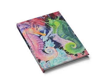 Colorful Rainbow Nautical Ocean Seahorse Blank Journal
