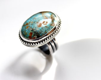 READY TO SHIP - Oval Royston Turquoise Sterling Silver Statement Ring | Size 7.5  | Nevada Mine | Boho Minimalist | Gugma Jewelry