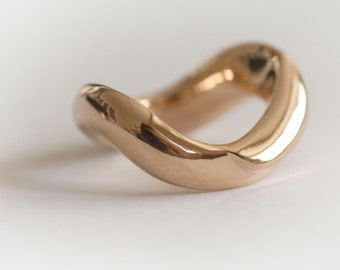 Hand sculpted bronze ring, Statement Ring, Wave ring, Wavy Ring
