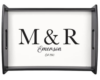Personalized Wooden Tray   monogram wedding gift   serving tray   monogram barware  anniversary gift  custom wedding tray with initials