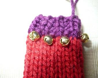 Purple & Red Christmas Stocking Ornament