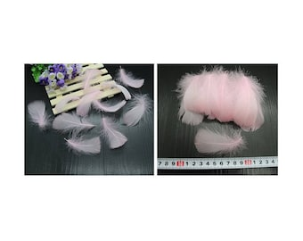 Set of 5 small light pink feathers