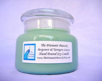 Bergamot and Tarragon Leaves Scented Soy Candle 12 oz Green Apothecary Jar Candle