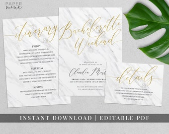 Marble and Gold Bachelorette Weekend Invitation | Editable | Hens Weekend Itinerary | Itinerary Template | Marble and Gold Foil Invitation
