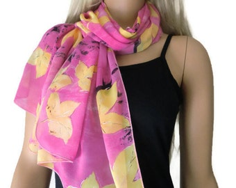 Pink and yellow long chiffon scarf with silver touched leaves-Parisian Neck Tissu
