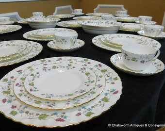 5pc Service 12 Minton Dryden English Bone China Porcelain Dinner Set S-716 & Service for 12 china | Etsy