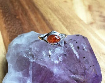 Sterling Silver Amber Ring Amber Jewellery Silver Jewellery Birthday Gift Anniversary Gift Gift For Her Womens Ring Womens Jewellery STSR14