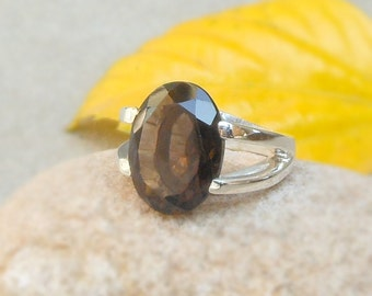 Smoky Quartz Ring Prong Ring smokey Quartz Rings Solitaire Ring Sterling Silver Ring Smokey mens ring brown ring Statement Jewelry