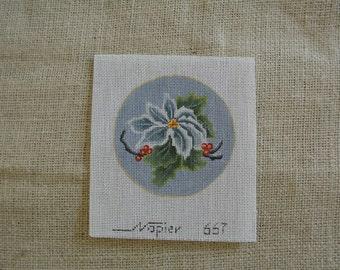 Needlepoint Canvas - a lovely Poinsettia Christmas Ornament