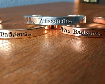 Wisconsin badgers triple bangle scriptive bracelet stack, rose gold, gold and silver