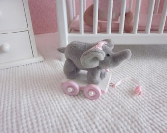 "Small elephant pull toy for 5""-10"" mini baby dolls, you pick color"
