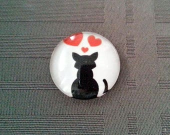 Cabochon Cat In Love, round glass 20mm, black and Red hearts