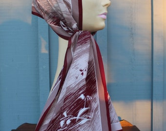 Vintage Monique Martin Long Scarf 1970's 100 Percent Polyester Crepe Made in Italy