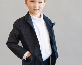 Black squared boys suit