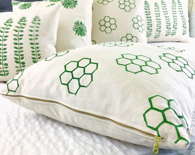 Organic pillow covers - various patterns in camp stove green