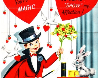 """Little Boy Magician Magic Trick Die-Cut Vintage Valentine's Day Card 7.5"""" Used"""