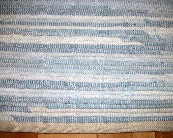 Light Blue Blue Jean Rug 50 inches Long Rug with No Fringe Woven Rag Rug