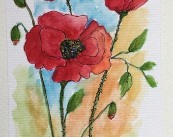 Poppies greeting card/Poppies/Watercolor Greeting Card/PoppiesWildflowers/Card and envelope/Floral greeting card/5 x 7 greeting card
