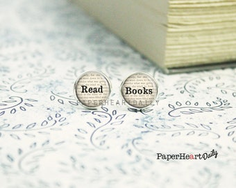 Read Books - Book Earrings - Bookworm for Her - Book Lover Earrings - Reader Earrings - Bookish Jewelry - Jewelry for Readers -   (H5920)