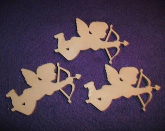 3 Angel, Cupid, wood, 7 x 5 cm (24-0017A)