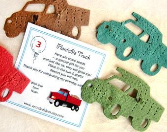20 Plantable Trucks - Birthday Construction Party Flower Seed Favors - Dump Trucks with Custom Cards Option