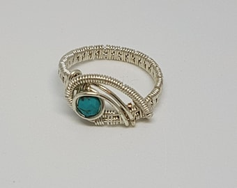 sterling silver ring, wire wrapped ring, natural stones ring , handmade jewelry