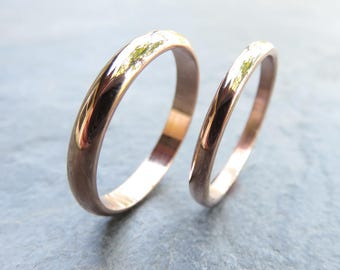 Traditional Matching Wedding Band Set in Solid 14k Yellow or Rose Gold, Domed Bands in 2mm and 3mm, Polished or Matte Finish, Recycled Gold