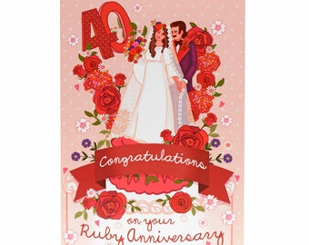 Ruby Wedding Anniversary Card - Ruby Wedding Card - Ruby Wedding - Anniversary Card - 40th Wedding Anniversary Card