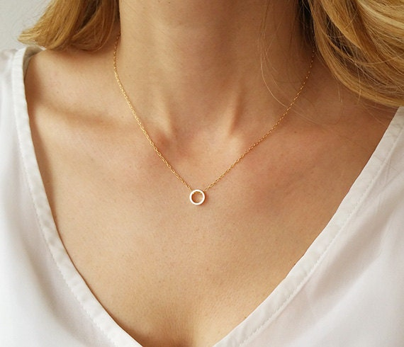 Dainty circle necklace karma necklace gold circle necklace like this item mozeypictures Gallery