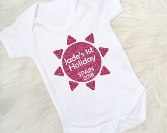 Personalised 1st Holiday Vest, My 1st Holiday, First Holiday, Baby's First Holiday, Sun Vest, My 1st