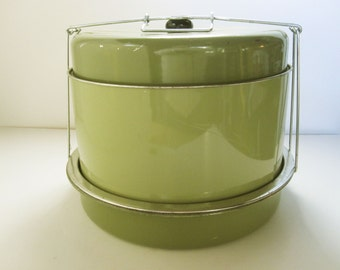 Avocado Green 'Triple Decker Food Carrier' - Unused - Combination Carrier - Four Piece Set With Tension Holder and Black Top Knob  - 1970s