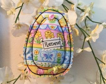 Easter Ornament, egg ornament, fiber art egg, spring ornament, spring décor, Easter tree,  fabric egg bowl filler, spring décor, Renew #1