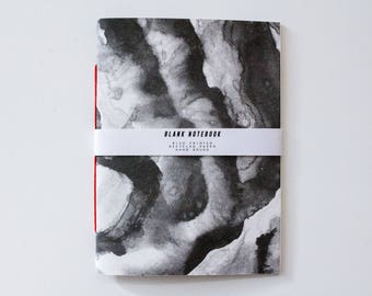 Notebook - Risograph Printed note book, black and grey ink painting design. Blank inside, recycled paper, A5. Hand Bound, red cotton.