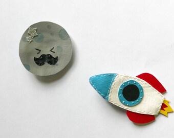 kawaii faux leather moon and rocket hair clip set