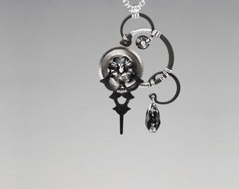 Steampunk Necklace with Silver Night Swarovski Crystals, Swarovski Necklace,  Monochrome Jewelry, Wire Wrapped Pendant, Mnemosyne v18