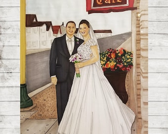 Wedding Illustration | Wedding Drawing | Wedding | Anniversary Gift | Wedding Gift | Wedding Dress | Anniversary