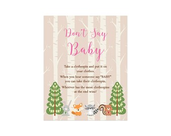 Woodland Don't Say Baby Baby Shower Game, Forest Friends Pink Dont Say Baby Game Instant Download  214 Printable