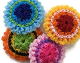 Dish Scrubbies Large Folksy Flower Nylon Scrubbers-You Choose the Colors and the Quantity,Hand-Stitched, Housewarming,Kitchen Decor,Gift
