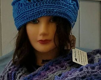 READY to SHIP--Crochet Blue Hat