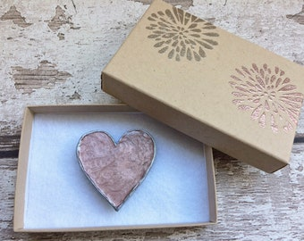 Pink Heart Magnet in Embossed Gift Box. Made from Wood and Hand-Painted in Antique Pink and Silver with Ceramic Magnet.