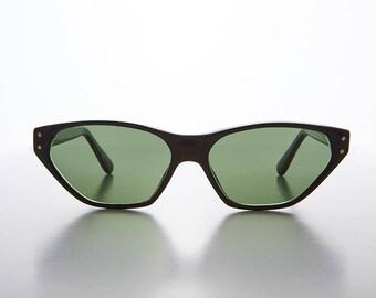 Edgy 90s Rocker Cat Eye Vintage Sunglasses / Gold Studs - Abigail