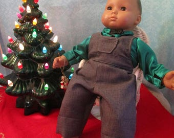 Holiday shirt and coveralls for 15 inch dolls