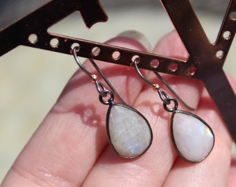Moonstone & Gunmetal Bezel Earrings, Gray Hypoallergenic Niobium Ear Wires Adorned With A Copper Ball For Interesting Contrast, 1 1/4""