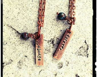 "Couples Necklace - Aged Copper Bar//Hand Stamped//Always/Forever - Names//Initials//Customize - 1"" Vertical Bar//Blue Solidite- His & Her"